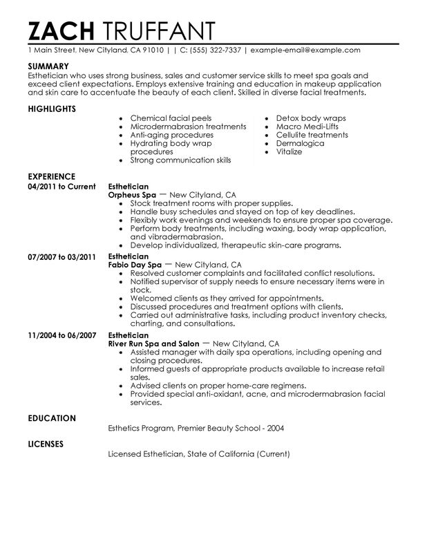 spa resume examples