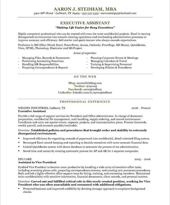 executive assistant resume executive assistant Aaron J Stedham