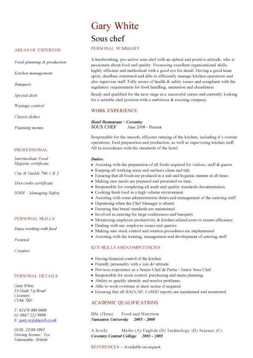 Chef Cv Sample - Resume Examples | Resume Template