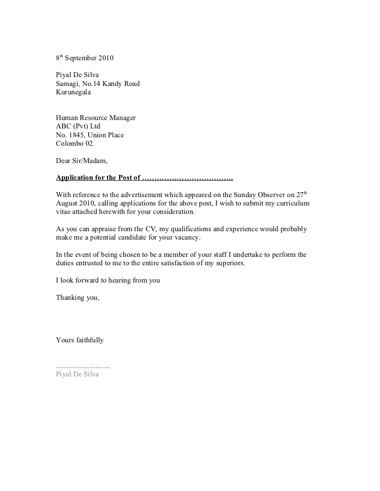 general employment cover letter