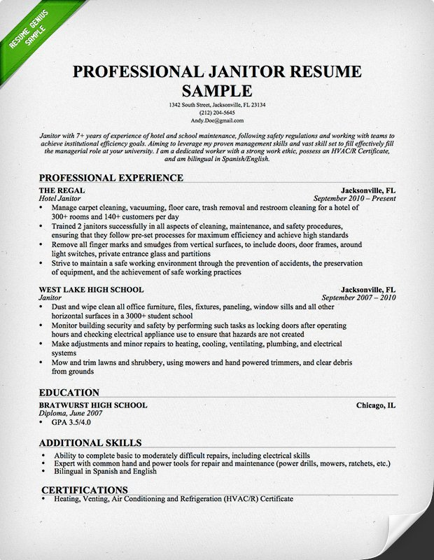 sample resume for janitorial work