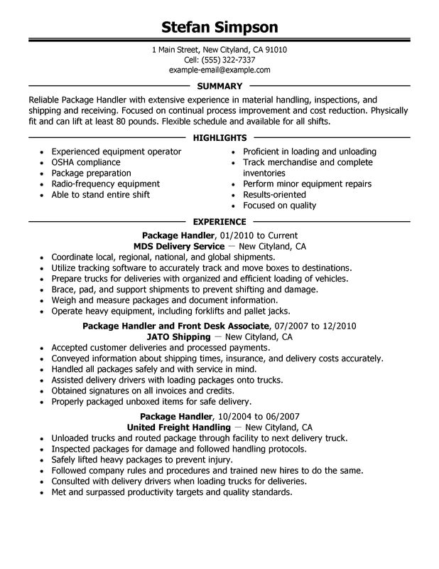 Package Handler Resume Job Description | Example Resume Mechanical