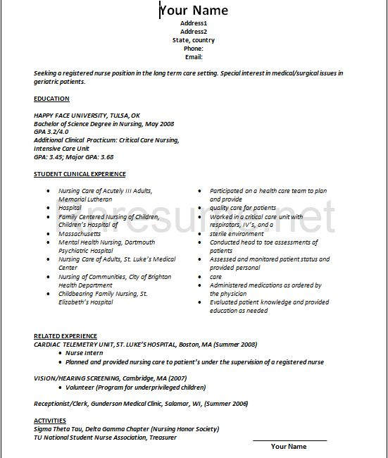 sample new grad nursing resume