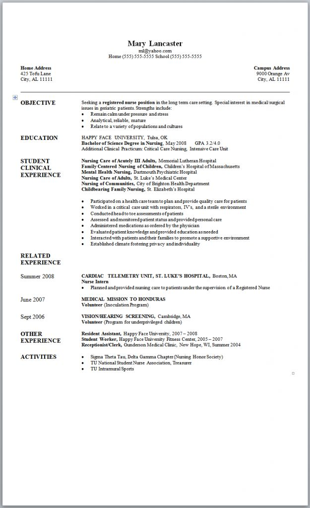 sample resume new graduate nurse