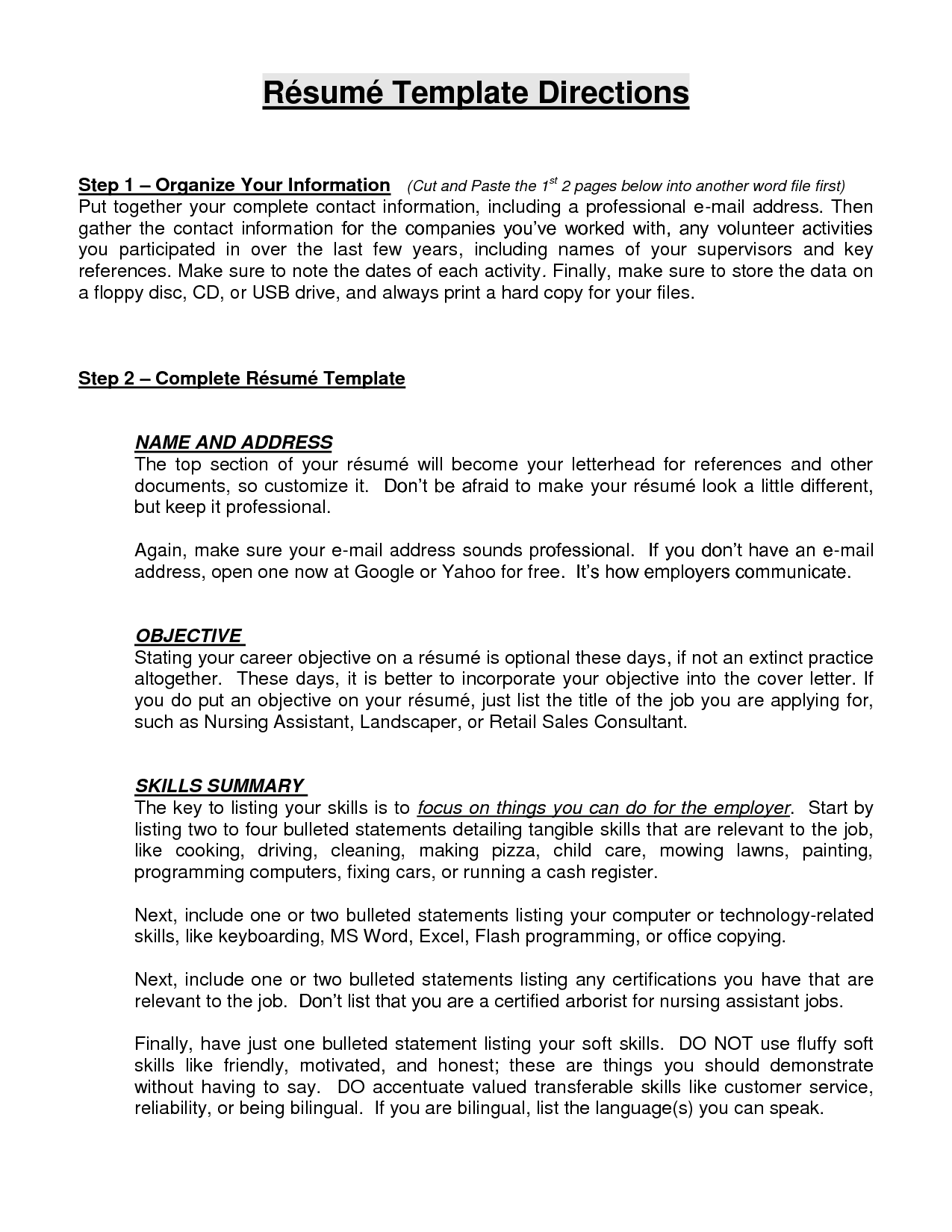 resume objective phrases examples