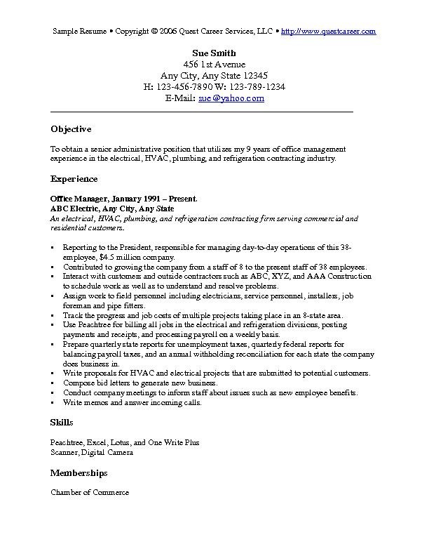 objectives for resumes general Objectives For Resume Examples - general resume objectives