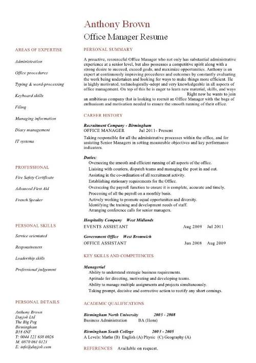 manager office resume sample
