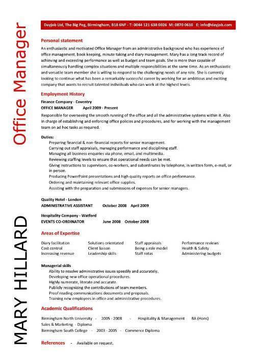 resume summary for office manager