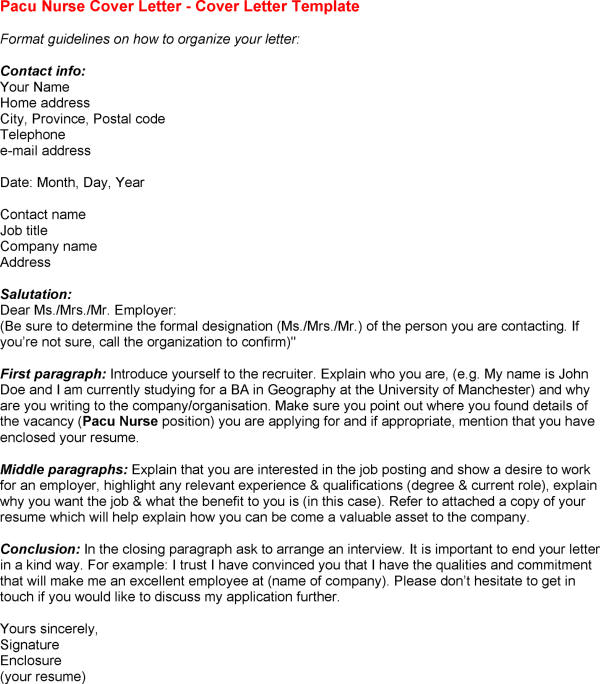 pacu nurse resume cover letter pacu nurse cover letter sample