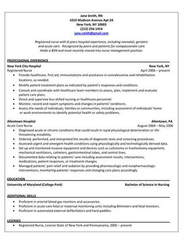 pacu nurse resume template professional resume outline jane smith - sample pacu nurse resume