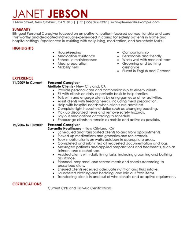 personal care assistant resume - Onwebioinnovate - care assistant sample resume