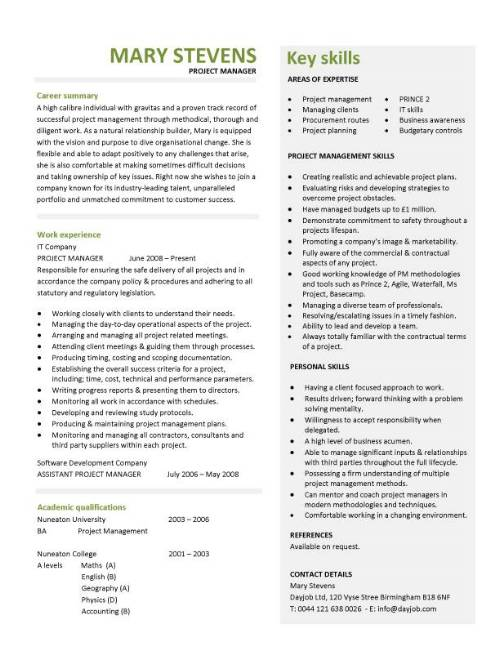 project manager cv example project manager resume templates by mary