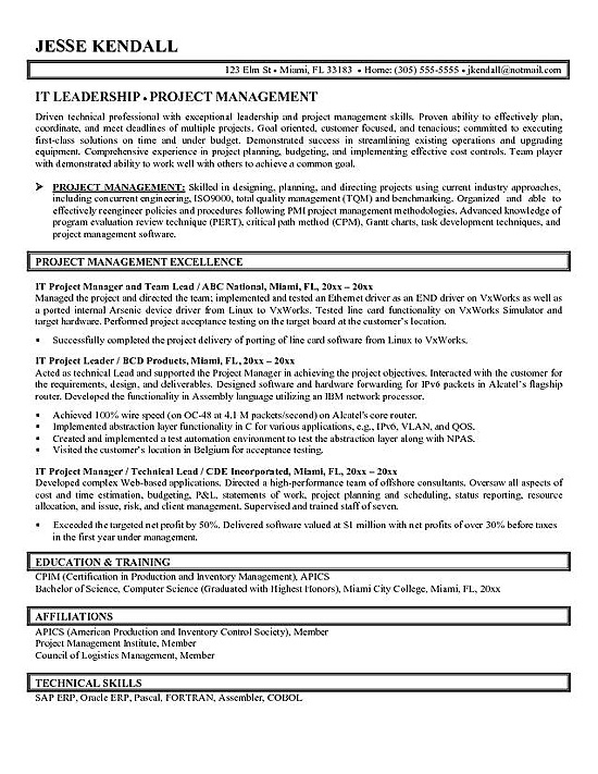 14 Project Manager Resume Samples - SampleBusinessResume - resume for project manager