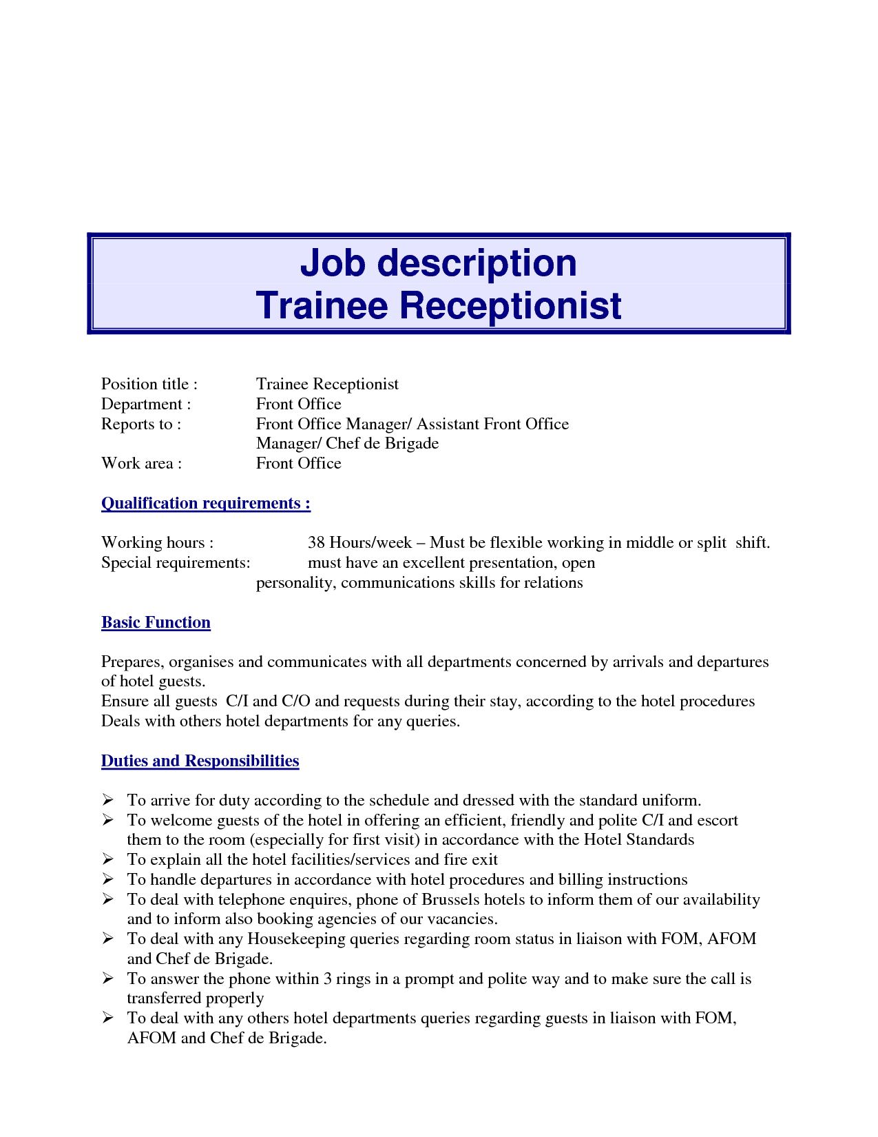 Doctor Office Receptionist Job Description Resume
