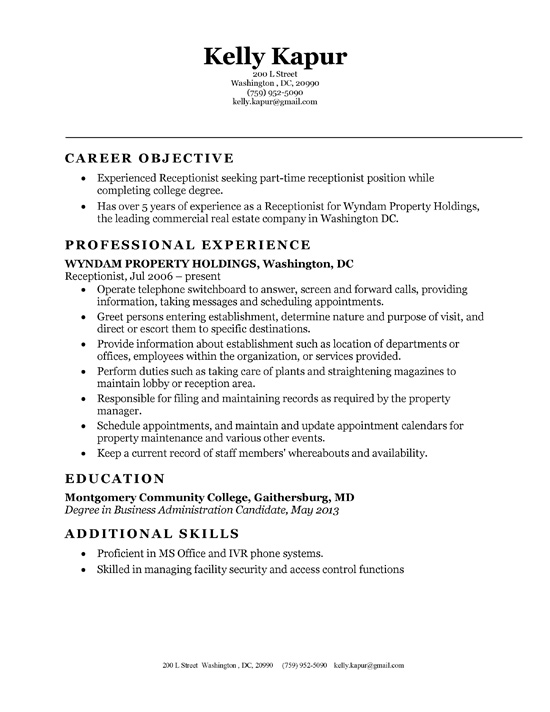 objective for a receptionist resume - Ozilalmanoof - salon receptionist resume