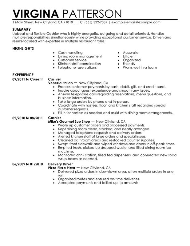 restaurant cashier resume sample - Vatozatozdevelopment