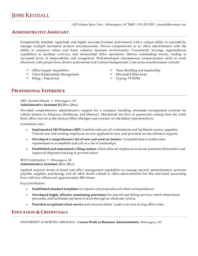 administrative assistant resume example executive assistant resume - sample of resume for administrative position