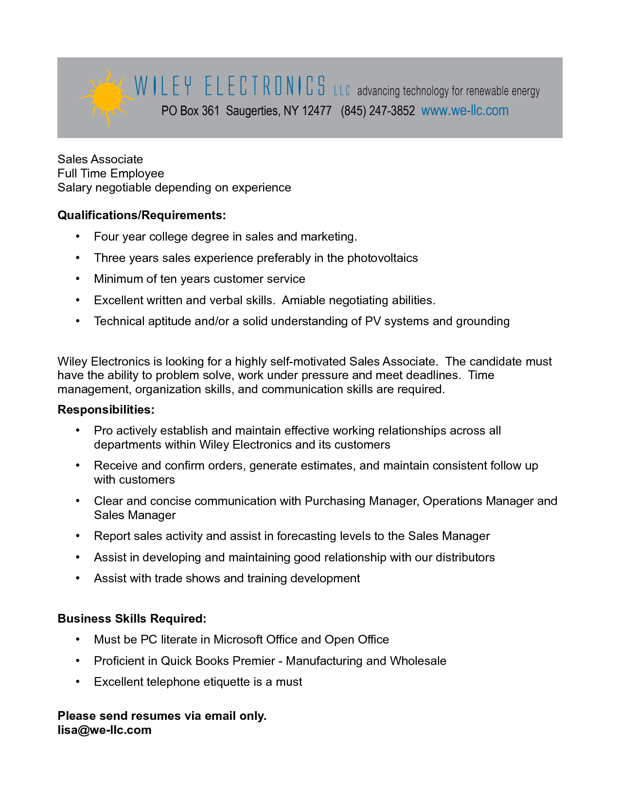 resume cover letter for retail sales associate