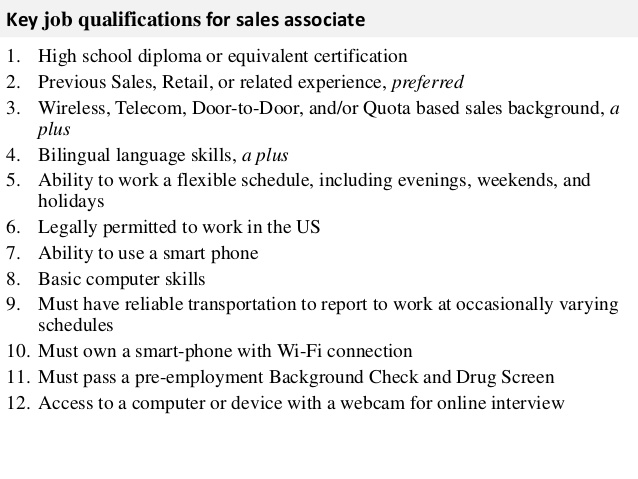 sales associate job description sales associate job description - sales job description