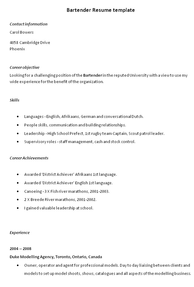 objectives examples for a resume