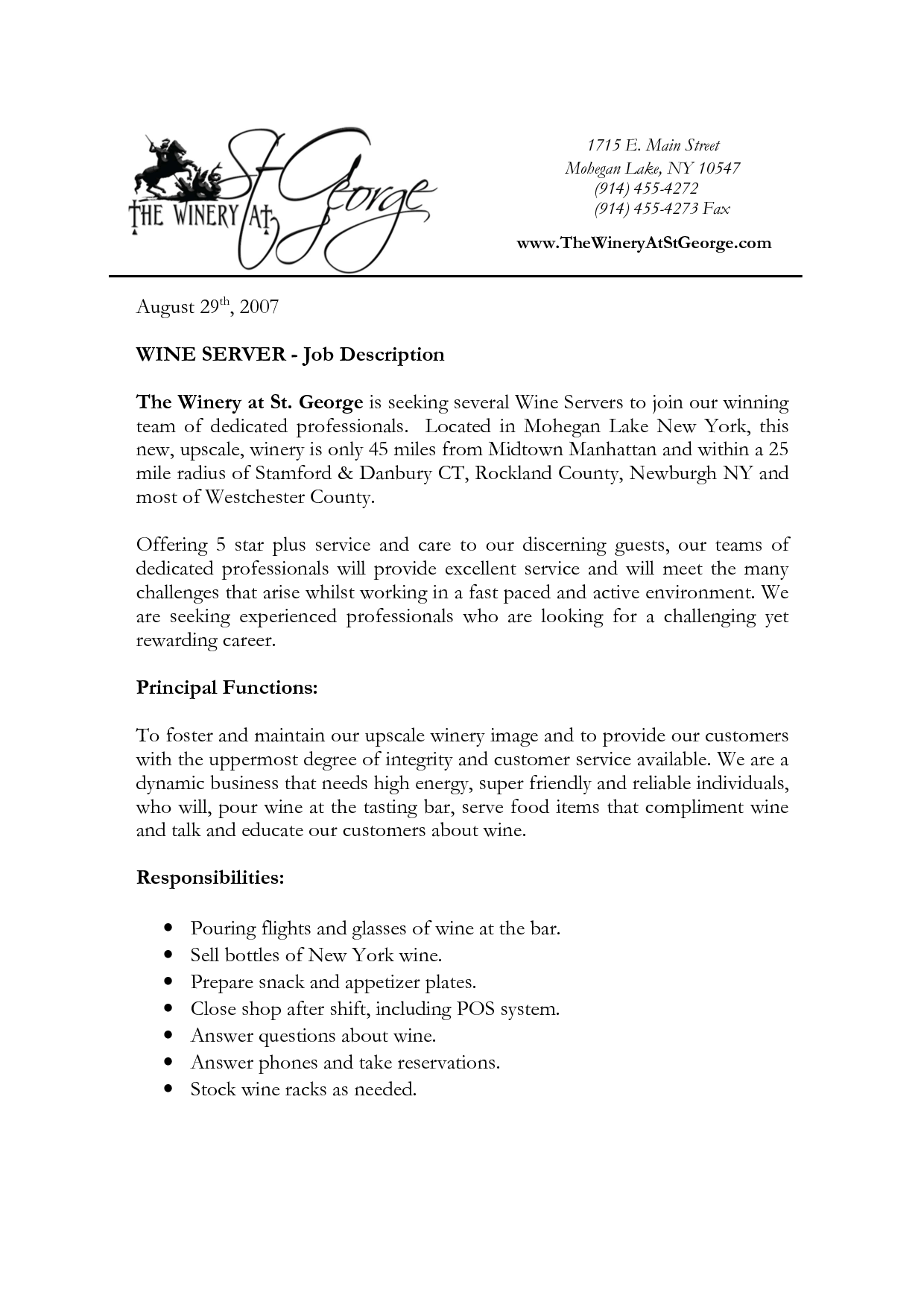 description of server duties for resume resume job
