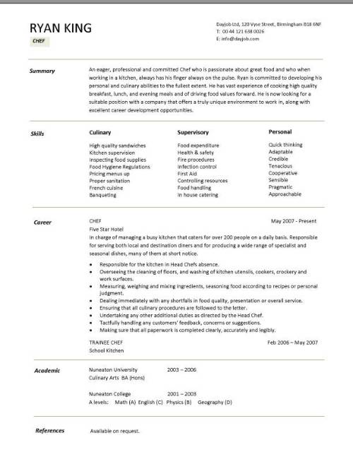 junior sous chef resume - Ozilalmanoof - sample resume for a cook