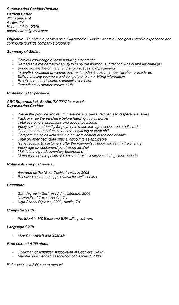 supermarket cashier duties resume head cashier job description