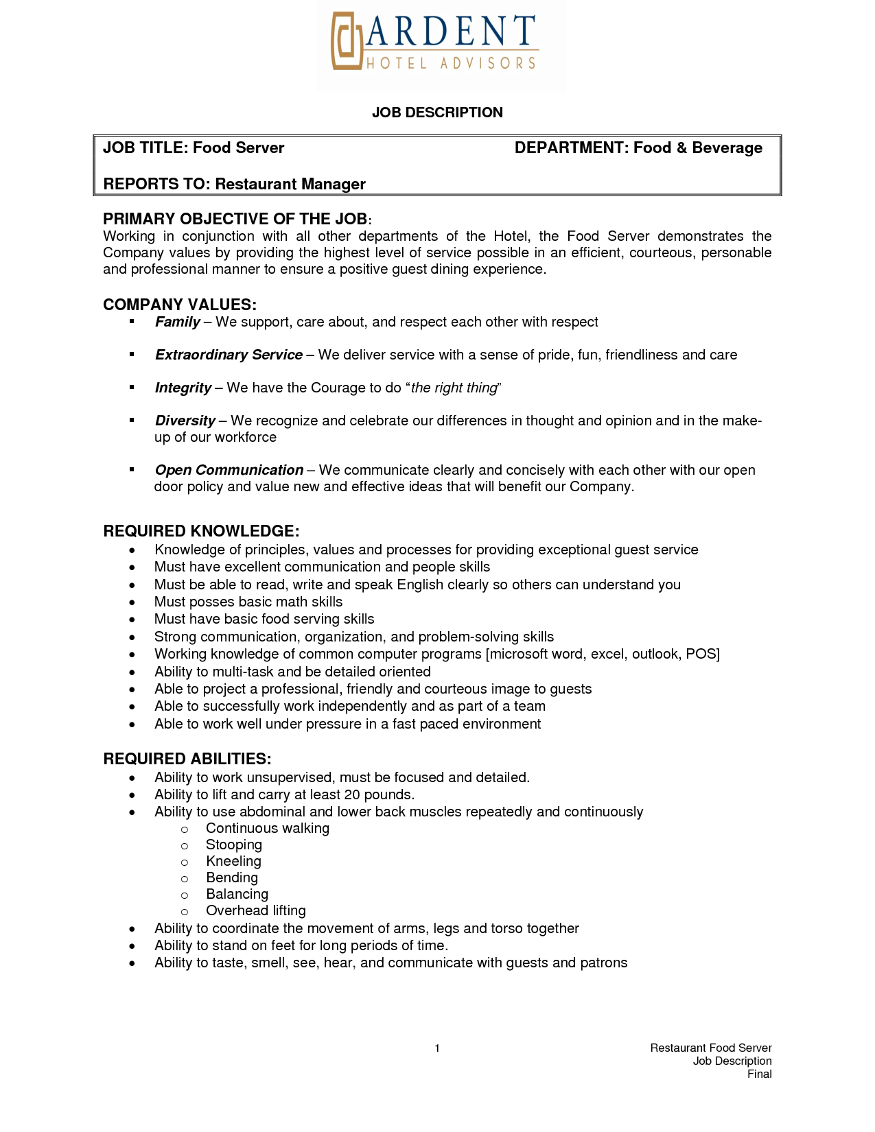 free resume job descriptions