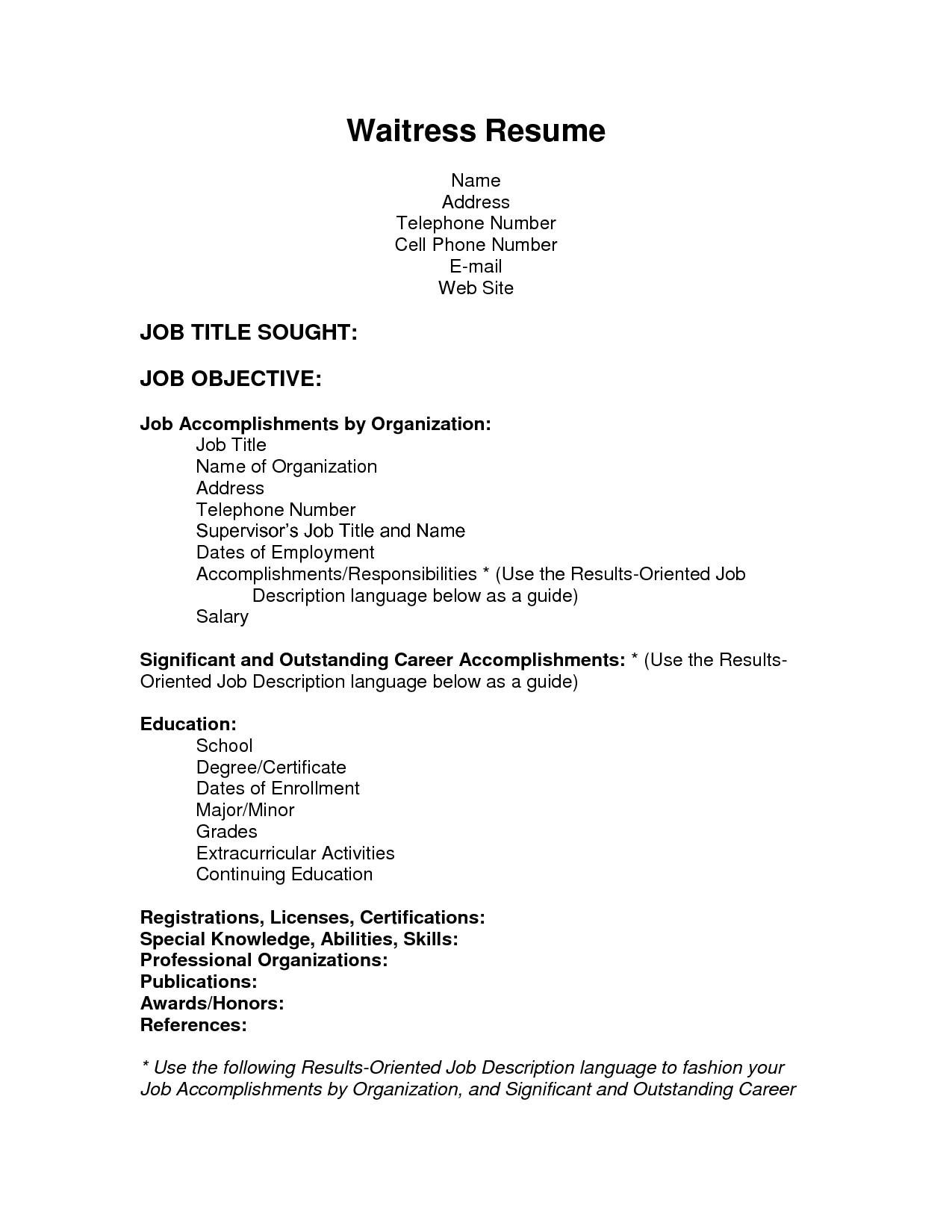 sample resume for waitress 3. 8 sample resume waitress job ...