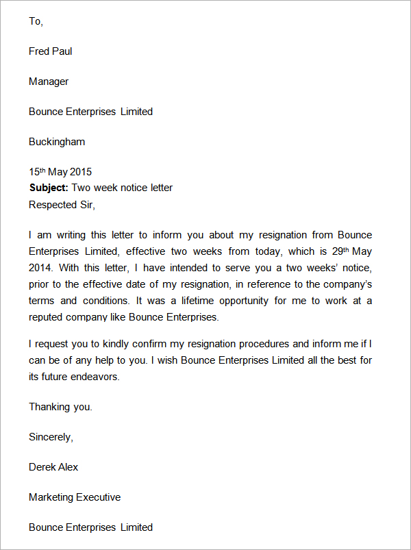 Two Weeks Notice Letter Resignation - SampleBusinessResume - two weeks template