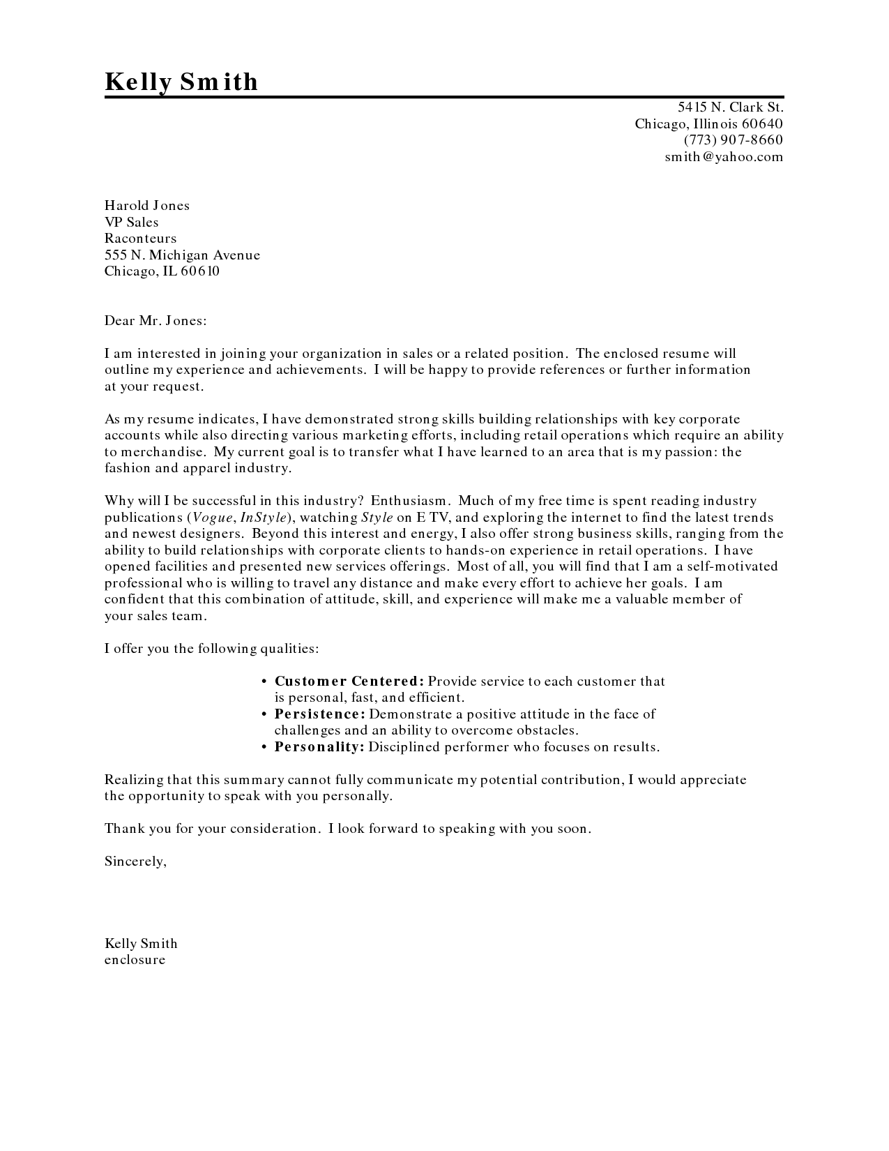 transitioning careers cover letter