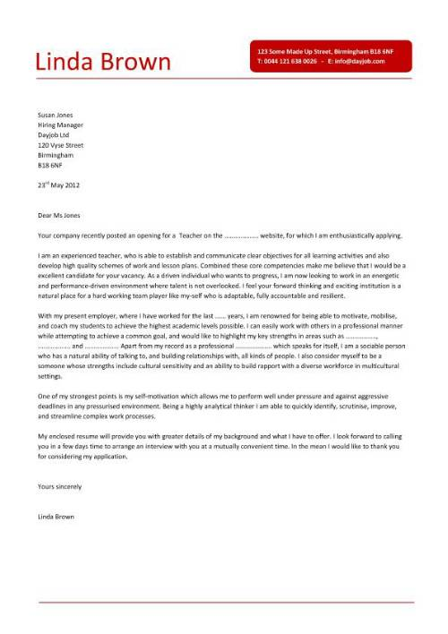 teacher cover letter sample with experience