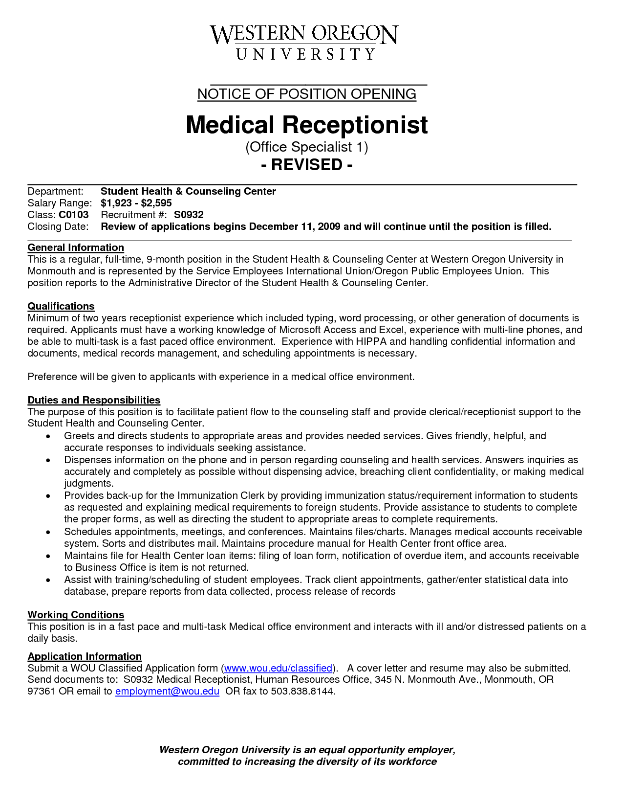 sample resume for front desk medical receptionist