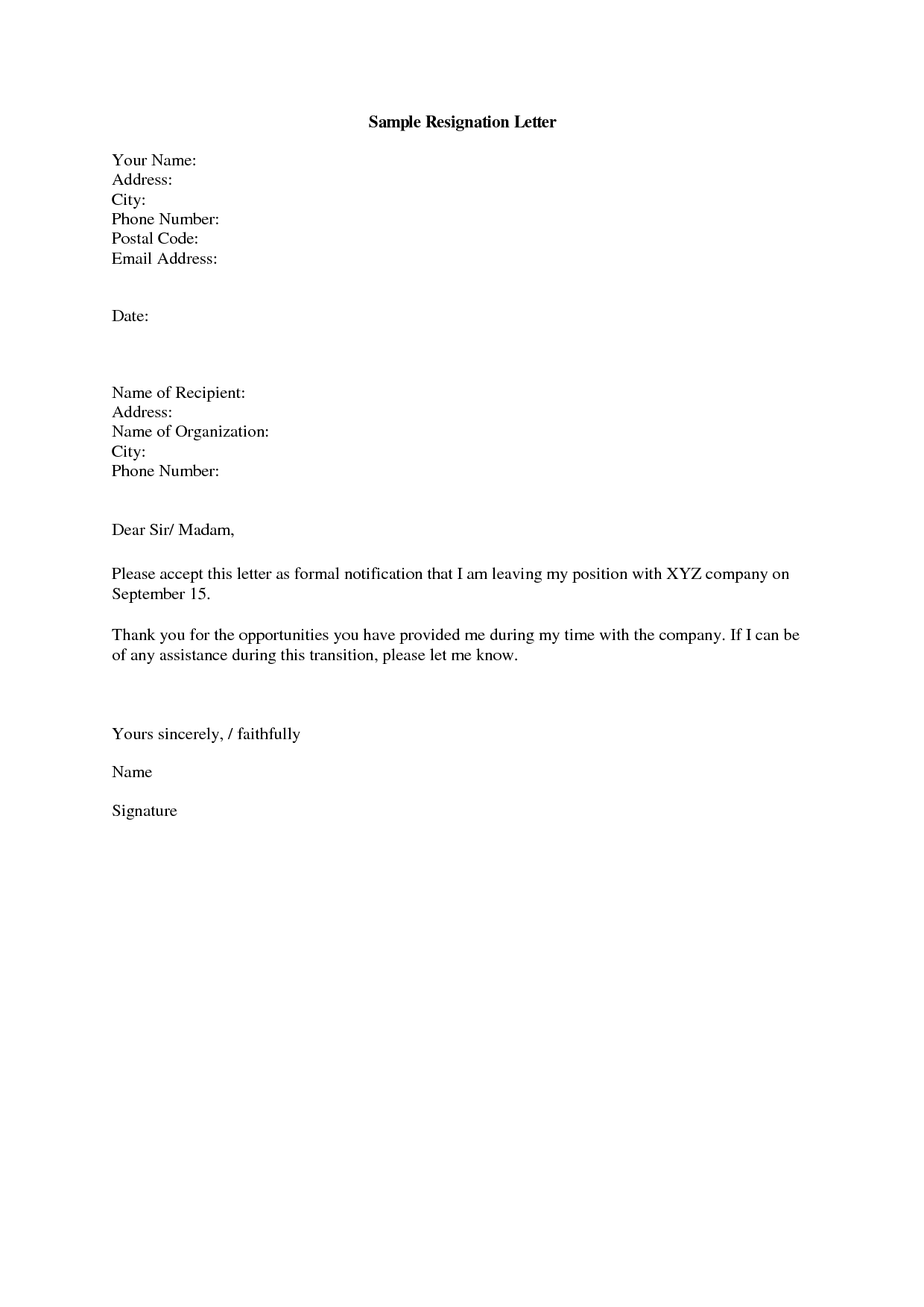Sample Of Resignation Letter For Company Resignation Letter Format