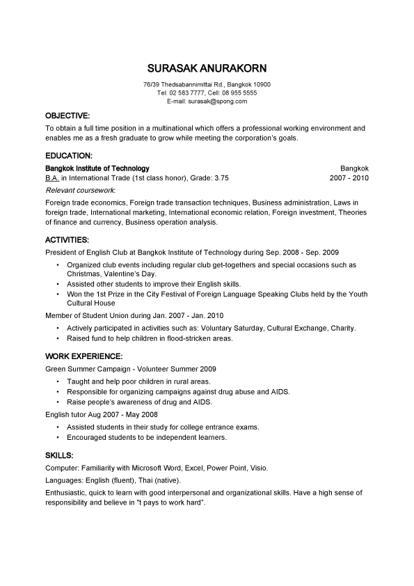 Objective Basic Resume Samples For Thailand Employer - basic resume samples