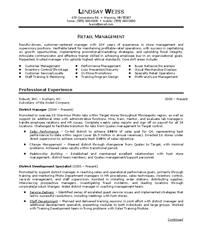 sample retail management resume - Onwebioinnovate