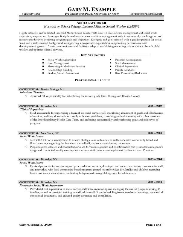 resume of social worker - zrom
