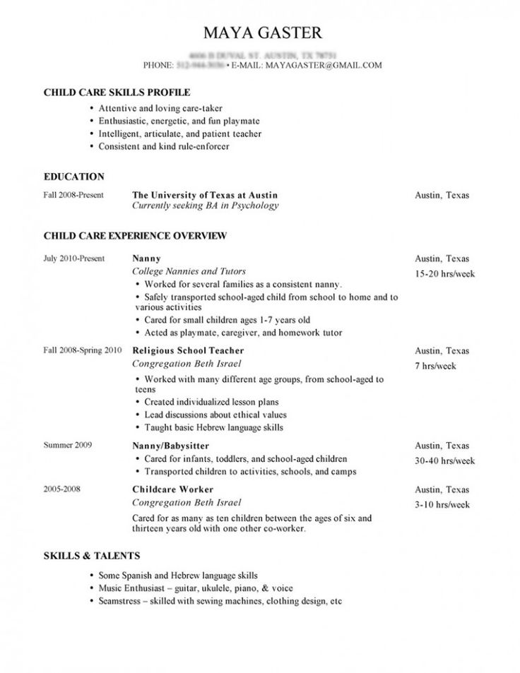 Sample Nanny Resume and Tips for Writing Nanny Resume Private Nanny - Nanny Resume Skills