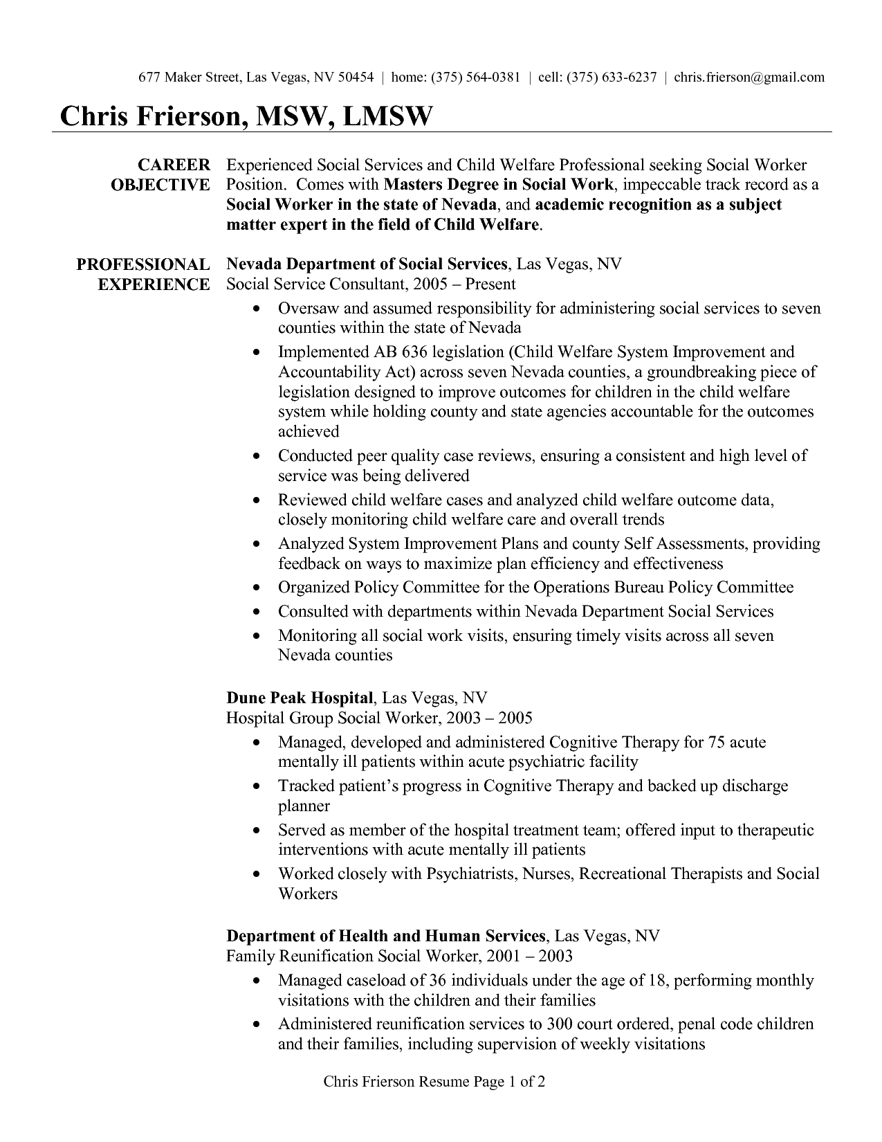 msw resume examples