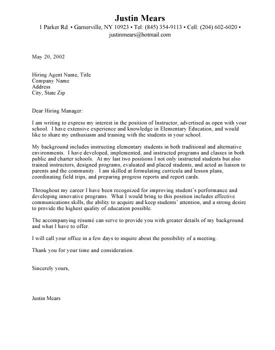 cover letter for teacher job - Onwebioinnovate - non profit cover letter sample