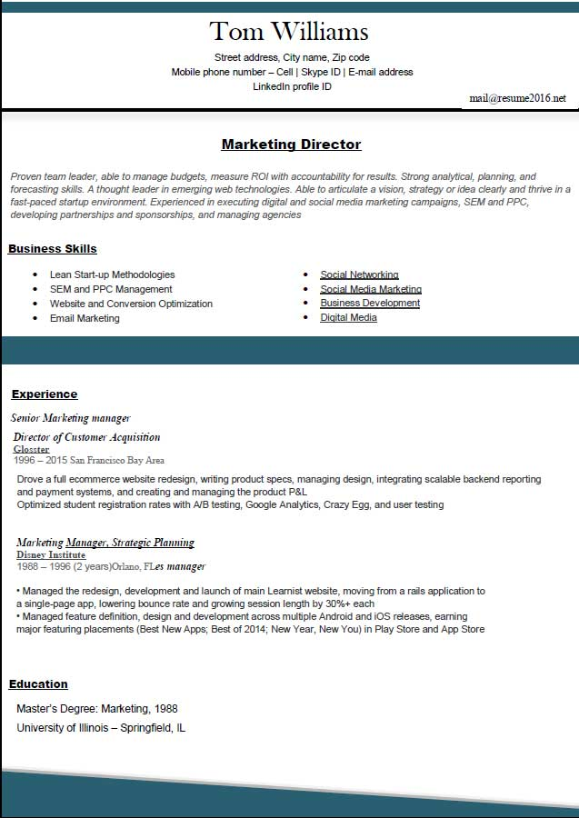 Best Resume Templates for 2016 - SampleBusinessResume