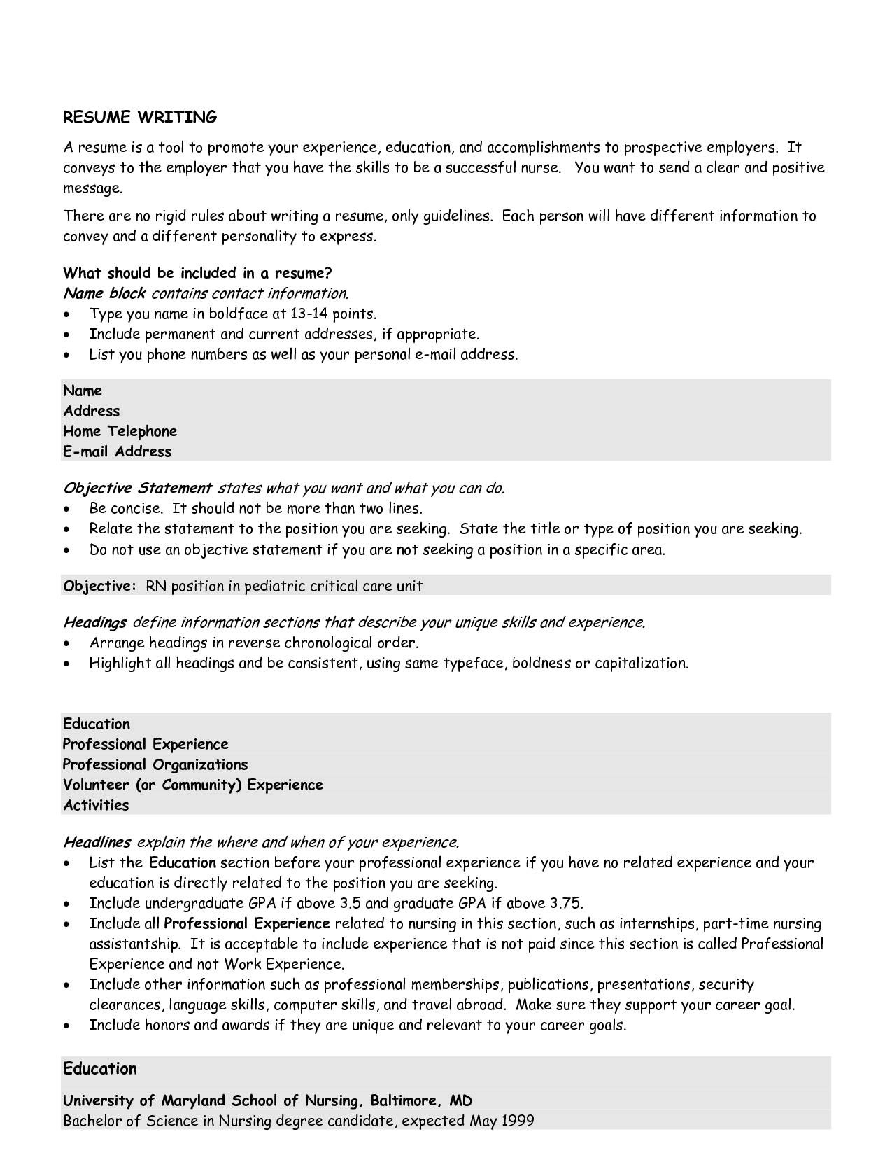 objective lines on resumes examples