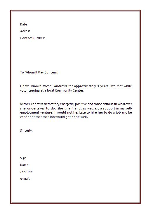 personal reference letter sample for a friend - Solidgraphikworks - personal referral letter