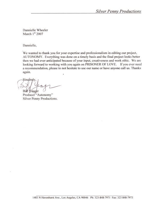 Personal Reference Letter Sample Productions View Reference Letter - personal referral letter