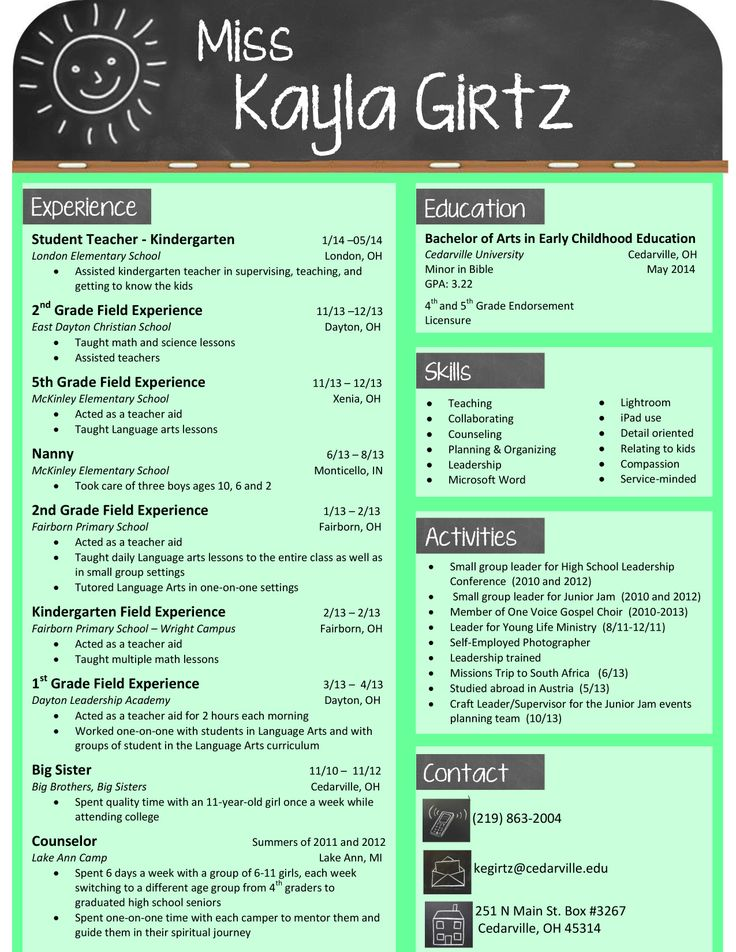 Sample Resumes for Teachers My design for an elementary teacher - Sample Resume Templates For Students