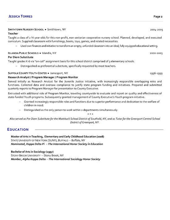 Substitute School Teacher Resume Example jessica torres - Elementary Teaching Resume