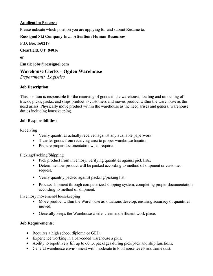 My Perfect Order Picker Resume - SampleBusinessResume - Pick Packer Resume