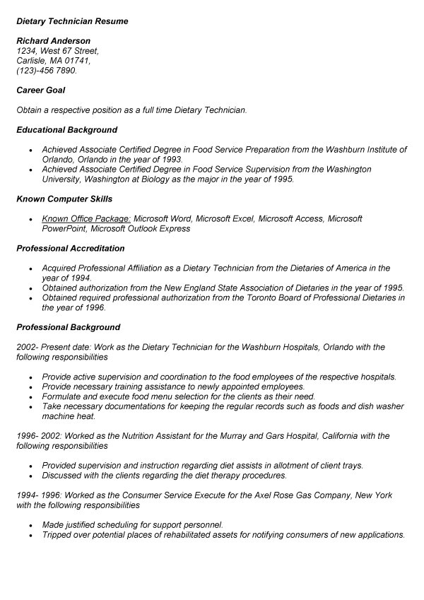 dietary aide job description for resume dietary technician resume - food service aide sample resume