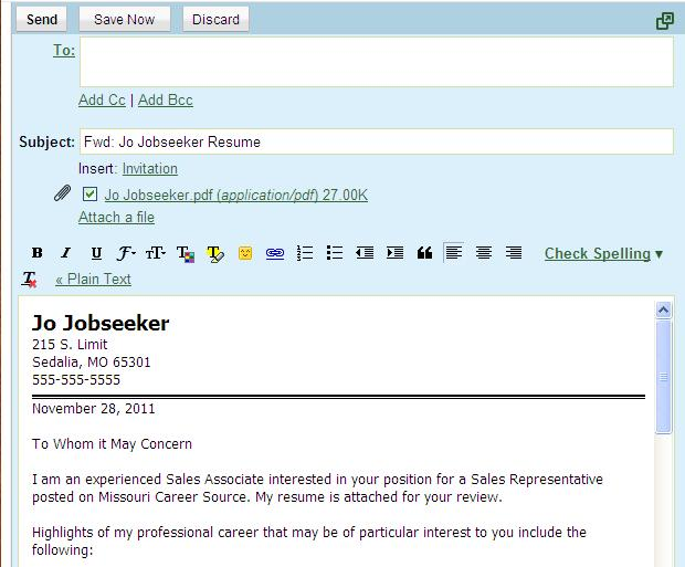 Examples Of Email Cover Letters For Resumes - Examples of Resumes
