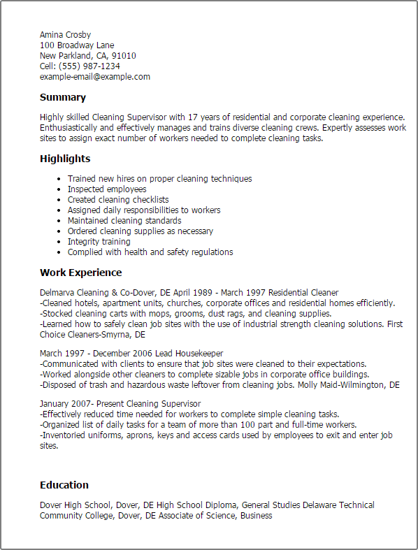cleaner cover letter resume template
